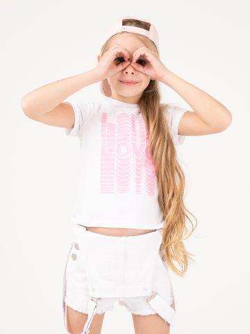 חולצת טי קצרה הדפס LOVE