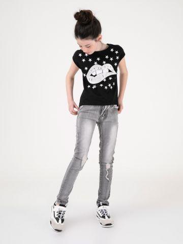 ג'ינס קרעים משופשף
