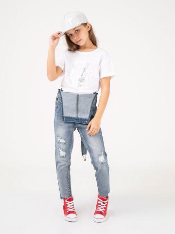 סרבל ג'ינס עם קרעים