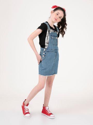 אוברול חצאית ג'ינס